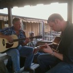 singing some songs on the restaurant patio