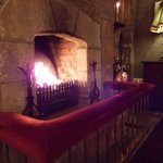  Fireplace across from check-in desk at Cabra Castle