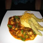 Shrimp in yellow chile & orange sauce