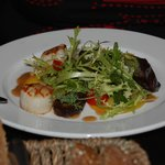 Scallops salad with black pudding and beet