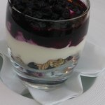 Home made granola layered with yoghurt and fresh blueberries!
