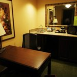  The small kitchenette and work area in the suite