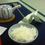 rice, crane placeholder and teapot