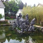 The rocks in the fish pond