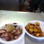 mofongo with pork and sweet plantains