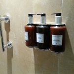 Variety of soaps in the shower