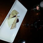  Homemade crackers, Ardsallagh goat&#39;s cheese and red wine poached pear