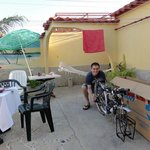 Assembling our bikes on the patio of  Villa La Roca