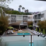  Overlooking the main hotel area, Hollywood Hills above.