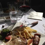 Winemakers lunch - sirloin with a mustard butter, pomme frites and a glass of cab!