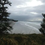 this is a view from the lighthouse at Cape Disappointment near Long Beach