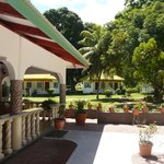  view of the garden and the bungalows from the restaurant