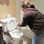  my sister cleaning toilet