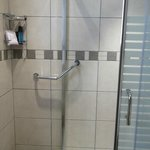 shower , bathroom bit on the small side but very modern decor and fantastic shower