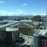 View of convention center and mountains from room
