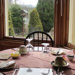A table in the window of our large dining room