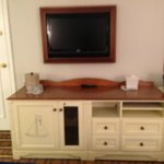  Mounted TV  and Storage Console (fridge inside)