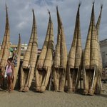 Caballitos de Tortora - traditional reed fishing boats.