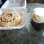 Cinnamon Roll and Chocolate cup cake with butter cream frosting