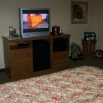 Flat screen TV w/ Cable, microwave, mini fridge.