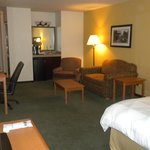  Room 3303--Seating area, refrigerator, and Keurig coffee-maker