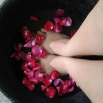 Foot spa treatment, with added tea tree oil. This smells great.