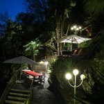 The terraced garden at night