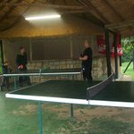 Table tennis by pool area