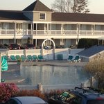  View of outdoor heated pool. Warm enough to swim in April!