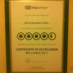  TripAdvisor certificate 2011