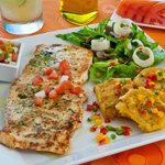  Fresh Grilled Wahoo with Garden Salad and Patacones