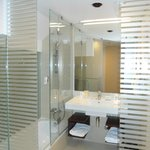 Glass surrounded upper level bathroom!