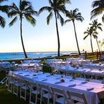 Oceanfront luau as the sun is setting