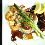 Shrimp and Scallops in Soy with Rice and Asparagus