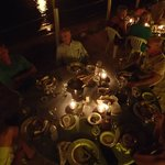  Dinner on the beach by candlelight.