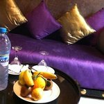fresh fruit and water in the rooms