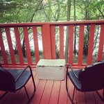 Cabin 1 patio. Percect for beers and coffee.