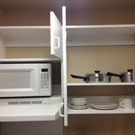 kitchenette cupboards/dishes