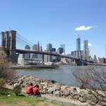 View of the Brooklyn Bridge and Manhattan skyline from Dumbo