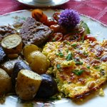  great breakfast- duck egg frittata!