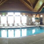 Our beautiful pool area with high ceiling