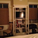 tv in glass cabinet