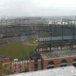 view of ballpark from executive lounge on 18th floor