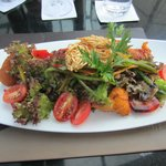 Great salad with pumpkin fritters at Quills restaurant