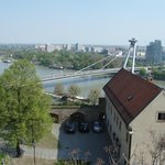  UFO Observation Deck seen from Hrad Castle across the Donau River