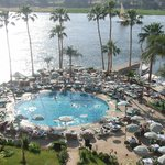 The view of the Nile and pool from our Sheraton Hotel balcony.