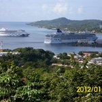 View of our ship the Norwegian Star from a high mountain top at the port in Roatan
