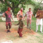 Drummers and dancing in the garden for Holi