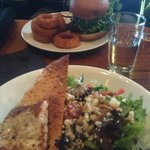 Chicken Burger with Onion Rings & Mixed Salad with Lingcod