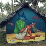  this fab wall art was just up the beach from Kaiya House